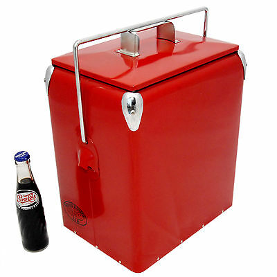 Retro Cool box PLAIN RED Cooler 17L Vintage Coolbox wedding present AAC077