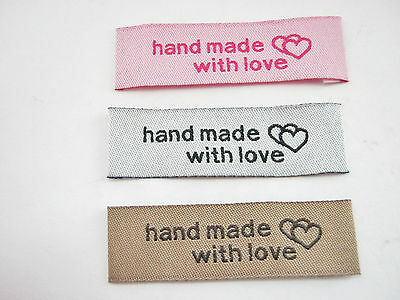 """24 """"Handmade With Love"""" Fabric Labels 50mm (2"""" inch) Sew On Clothing Labels Tags"""