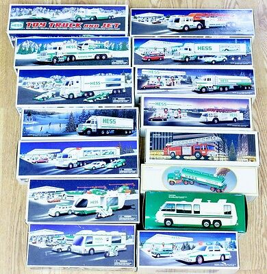 Lot Of (15) Hess Trucks All In Boxes Collectible Trucks 1980-2010 (TRAINING VAN)
