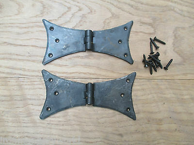 PAIR OF hand forged old English wrought iron door gate butt hinges Gothic