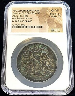 222 - 205/4 Bc Bronze Ptolemaic Kingdom Ae35 Ptolemy Iv Ngc Choice Very Fine 5/2