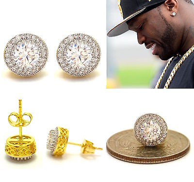 Mens 18K Round Yellow Gold Finish Lab Diamond Screw Back Hip Hop Stud Earrings