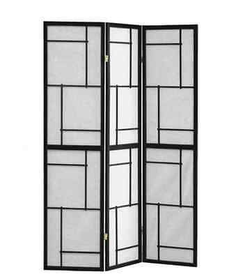 Folding Room Divider Charlie folding screen Black wood framed 3 panel