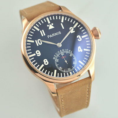 44mm Parnis black dial Rose gold Case Asian Mechanical winding 6498 Watch 159