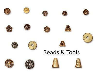 TIERRACAST Bead Caps and Cones 22k GOLD Plated Pewter BEADS & TOOLS