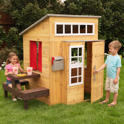 NEW KidKraft Modern Outdoor Wooden Playhouse | Kids Cubby House | Picnic Table