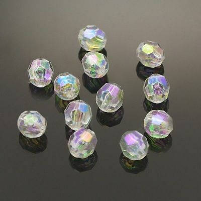 100pcs Crystal AB Color Plated Clear Transparent Acrylic Round Beads Faceted 8mm