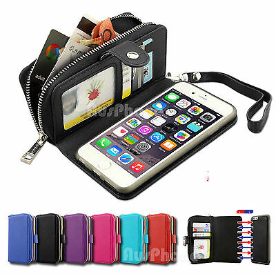 Magnetic Flip Leather Zipper Wallet Card Case Cover for iPhone 6 6S Plus Samsung