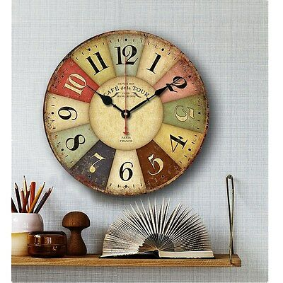 European Style Round Colorful Retro Vintage Rustic Wooden Big Home Wall Clock