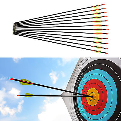 12 Fibreglass Archery Arrows Field Training Arrows Tips 28 30 32 inches