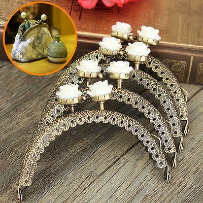 1/5x Metal Frame Kiss Clasp Arch for Purse Bag Bronze White Resin Flower Pattern