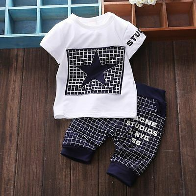 2pcs Newborn Kids Baby Infant Boys T-shirt Tops+Plaid Pants Clothes Outfits Sets