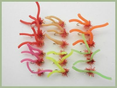18 Goldhead Squirmy Worm Fishing Flies, Mixed Colors Size 10,Fly Fishing