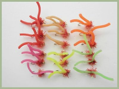 Worm Fishing Flies, 18 Pack, Squirmy Worms, mixed Colour, SIze 10,  Fly Fishing