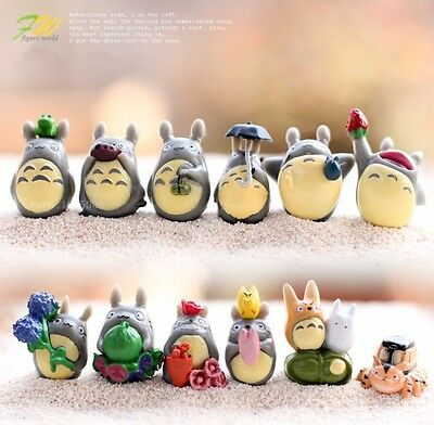 12Pc Set Tiny My Neighbor Totoro Resin Toy Figurine Small Statue Charm Fan Gift