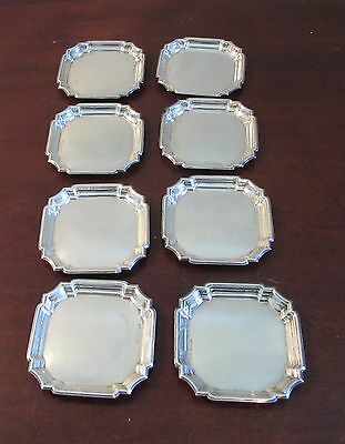 Set of 8 Deakin & Francis sterling silver trays ashtrays 323 grams