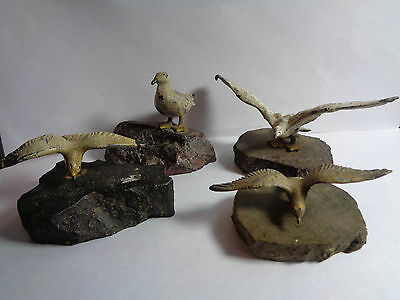 Vintage Set Of 4 Cold Painted Metal Seagulls Cornish Serpentine Base