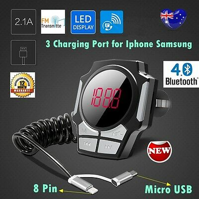 3 Port LED Bluetooth Car Kit MP3 FM Transmitter TF USB Charger iPhone Samsung