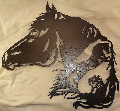Horse with Horse Scene Metal Wall Art Home Decor