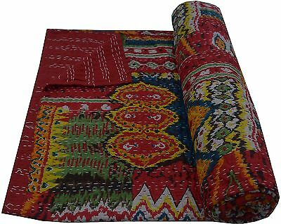 RED IKAT QUEEN INDIAN KANTHA QUILT BEDSPREAD BLANKET THROW Ethnic Decor India