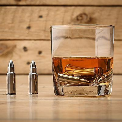 6PC Stainless Steel Whiskey Stone Bullet Shaped Chilling Rocks Reusable Ice Cube
