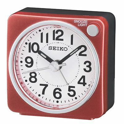 Seiko QHE118S Bedside Sweep Second Hand Beep Alarm Clock with Light, Snooze New