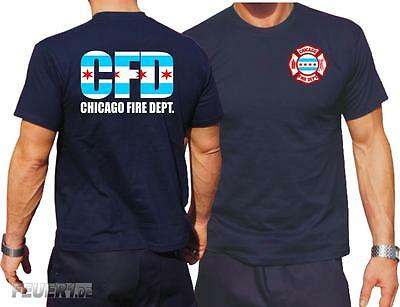 T-Shirt navy, Chicago Fire Deptartment  - City flag, dreifarbig