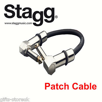 "Stagg GUITAR FX PEDAL PATCH CABLE LEAD 4""/10cm With Angled Jacks SPC010L DL"
