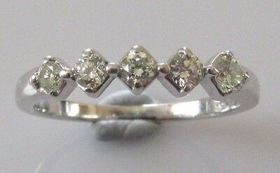 Secondhand 18Ct White Gold 5 Stone Diamond Band Ring Size M.