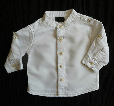 Baby clothes BOY 3-6m NEXT round neck white/beige linen/cotton long sleeve shirt
