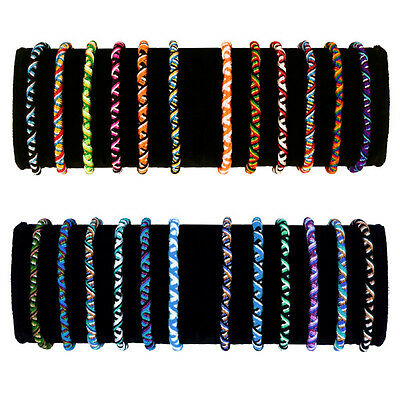 3736 Friendship Roped Acrylic Bracelets Colorful Handmade 100 Pack Lot Wholesale