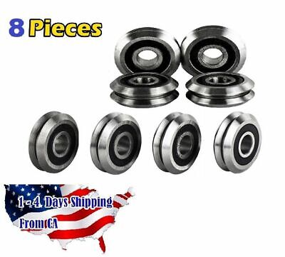 "RM2-2RS 3/8"" V Groove Roller Bearing Rubber Sealed Line Track (8PCS)"