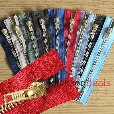 "Brass Jeans Zip Fastener 4, 5, 6, 7 and 8"" inch 10cm to 20cm choice of colours"