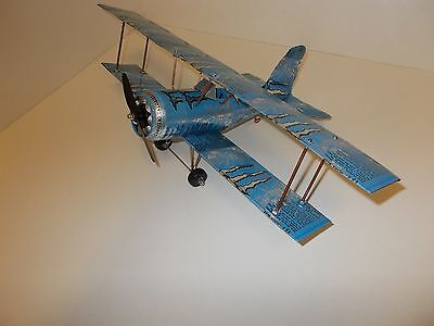 Aluminum soda can handcrafted airplane/MONSTER-BLUE /BI-PLANE