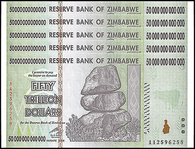 Zimbabwe 50 Trillion Dollars X 5 Pieces (PCS), AA/2008, P-90, UNC, 100 Trillion