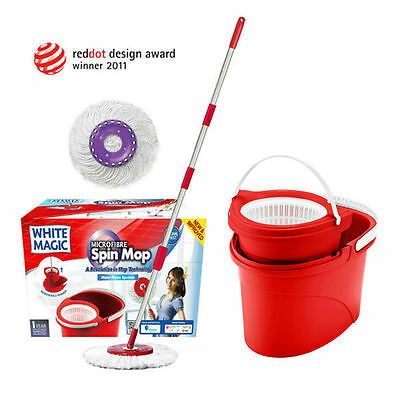 White Magic Microfibre Hand Press Spin Mop with Bucket Red