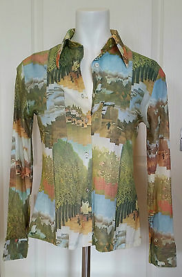 Vintage 1970's Fitted Blouse Scenery Landscape Print Long Sleeve Button-Up Small