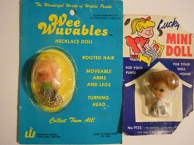 1970's Kiddle Klone Doll Necklace Wee Wuvables Necklace Doll + Lucky Mini Doll !