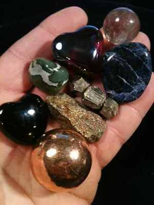 Smokey Quartz Crystal Ball, Copper Sphere, Black Onyx  Heart,  Jadeite Jade Egg