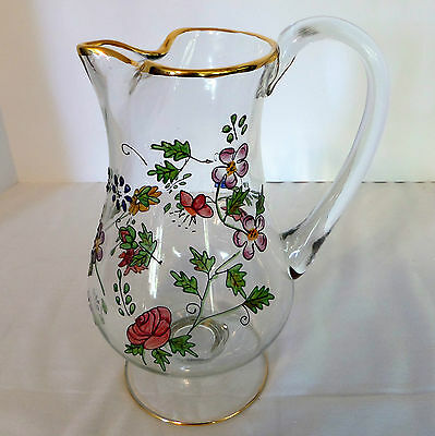 Large Hand Painted Floral Glass Lemonade Pitcher with Gold Trim