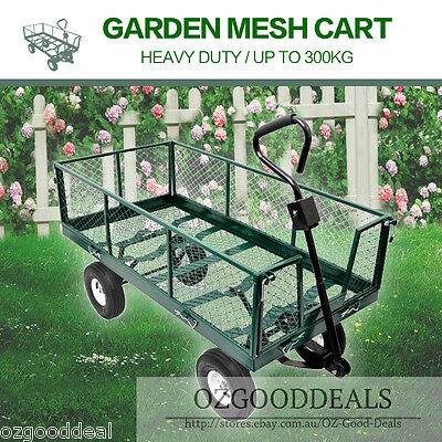 New Garden Mesh Side Load Tow Cart Trolley Trailer Barrow Straight Handle L