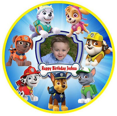 PAW PATROL & CHILDS PHOTO Edible Wafer Paper Party Cake Decoration Topper Image