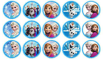 15 Disney Frozen Mixed Edible 3.5cm Wafer Paper Cupcake Cup Cake Toppers Images