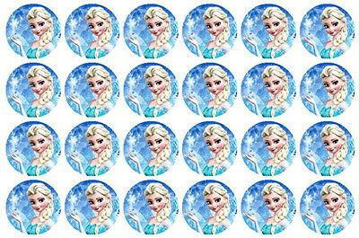 24 Disney Frozen ELSA Edible Wafer Cupcake Cup Cake Decoration Toppers Images