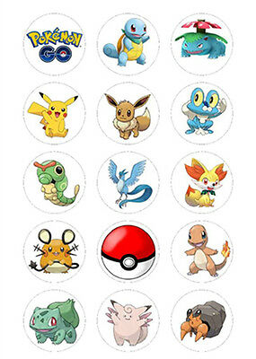 15 Pokemon Edible PREMIUM ICING Party Cupcake Cup Cake Decoration Images toppers