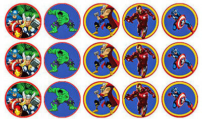 15 The Avengers Edible Wafer Paper Cupcake Cup Cake Decoration Toppers Images