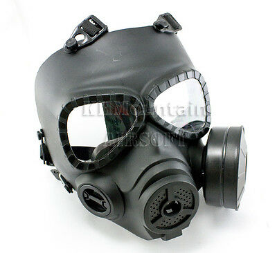 Full Face Protector Gas Mask with Fan Ventilation System / Black (KHM Airsoft)
