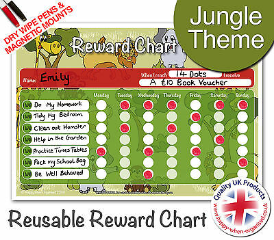 Jungle Theme Re-usable Reward Behaviour Chart - 2 Dry Wipe Pens & Magnetic Mount