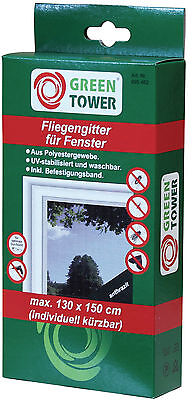 GREEN TOWER Window Fly Screen 130 x 150 cm anthracite Insect protection z b