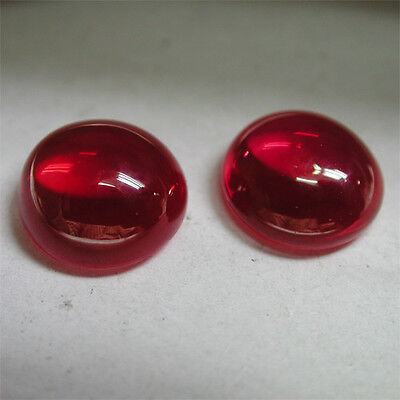 Nice!17.50ct Awesome Pigeon Blood Red Ruby Round Cab Lab Created Gem~